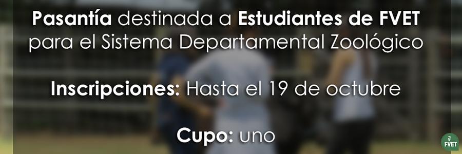 Pasantía destinada a Estudiantes de FVET para el Sistema Departamental Zoológico