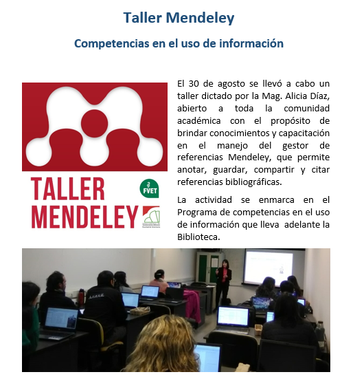 noticia taller mendeley agosto2018